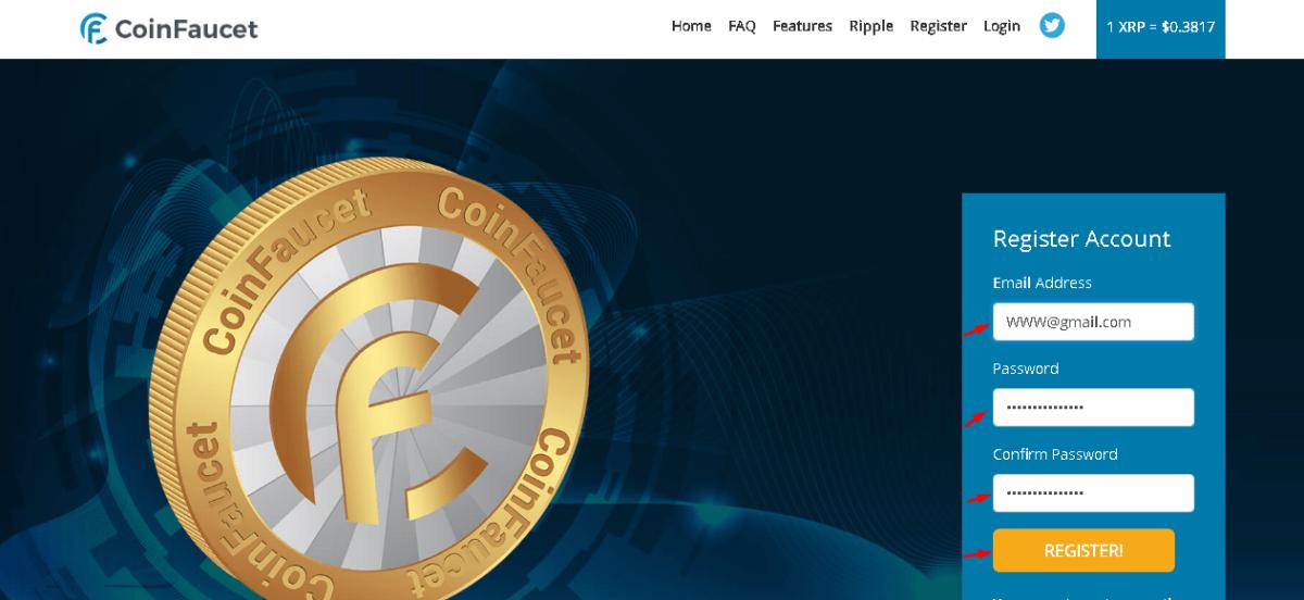 регистрация на coinfaucet