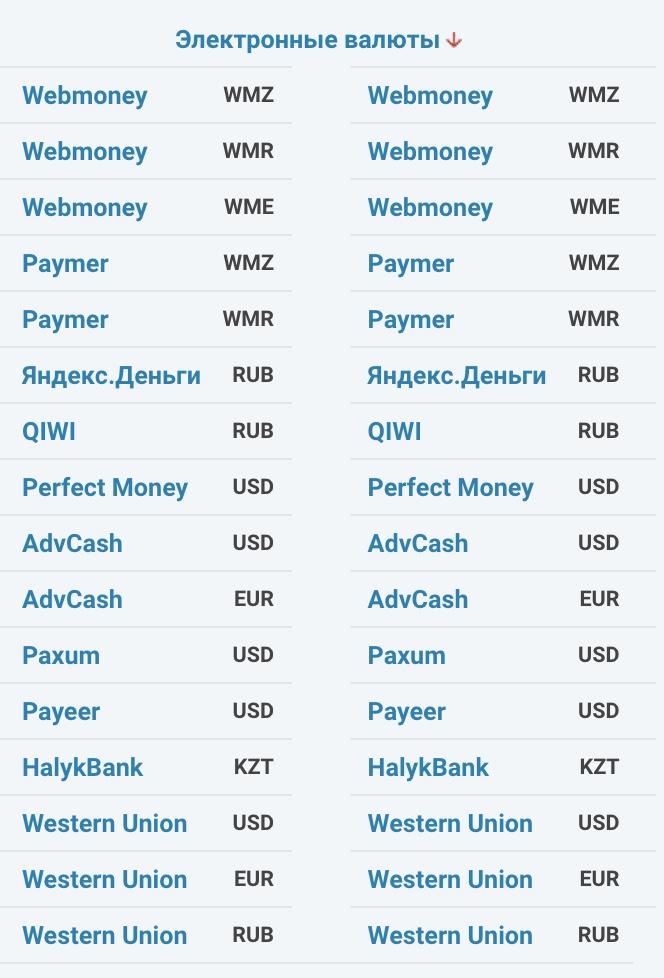 направление обмена электронные валюты