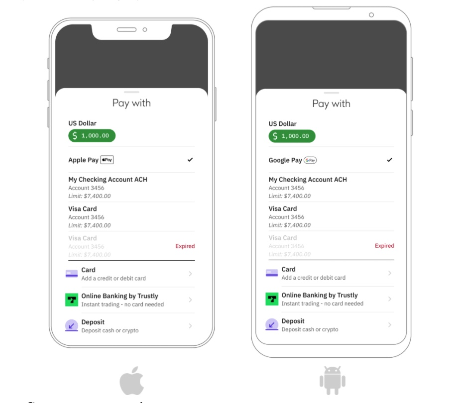 Как приложении Kraken купить криптовалюту через Apple Pay и Google Pay